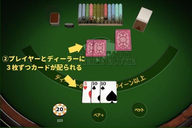 スリーカードポーカー ゲーム流れ 手札