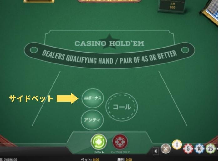 カジノホールデムポーカー サイドベット 説明画面