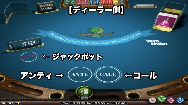 カリビアンスタッドポーカー テーブル 画面