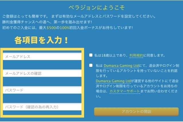 ベラジョンカジノ 登録 入力画面