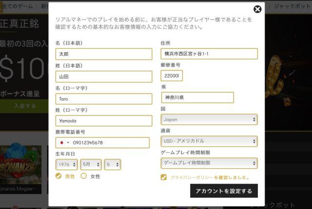インターカジノ 登録画面 個人情報 入力