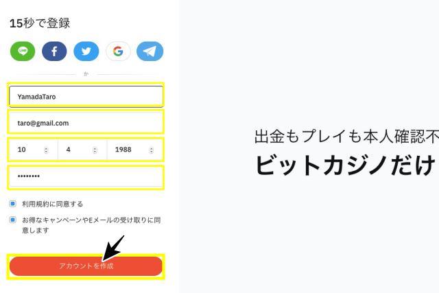 ビットカジノ 登録画面