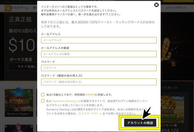 インターカジノ 登録画面 メールアドレス パスワード 入力