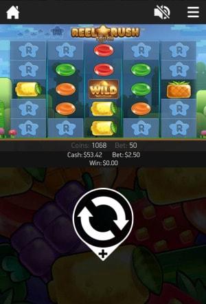 オンラインカジノ スマホ スロット リールラッシュ画面