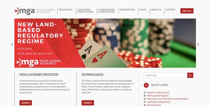 ベラジョンカジノ ライセンス マルタ政府公式画面