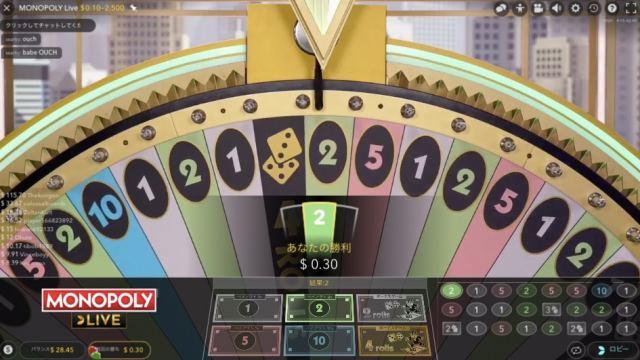 オンラインカジノのモノポリー 2のマスに止まったとき