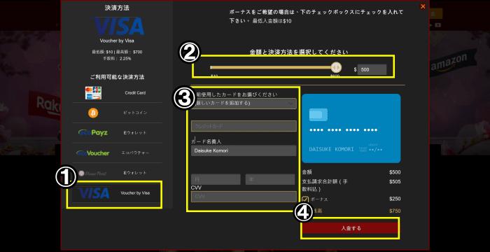 ライブカジノハウス 入金画面 VISA