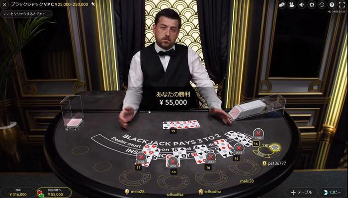 オンラインカジノ プレイ画面