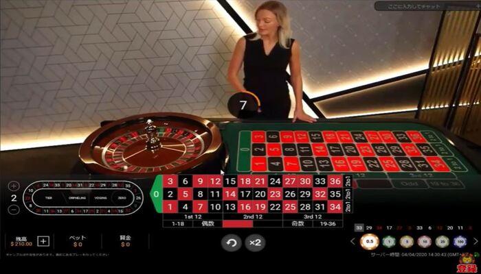 ジパングカジノ ルーレットプレイ画面