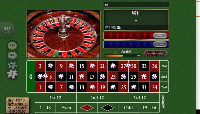 ジパングカジノ ルーレット プレイ画面