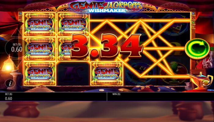 ジパングカジノ Genie Jackpots Wishmaker プレイ画面