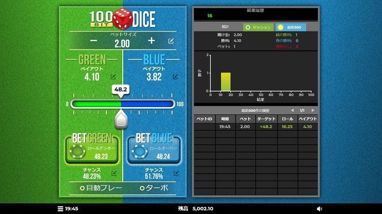 100bit dice プレイ画面