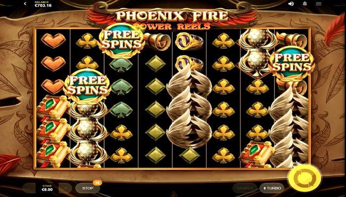 Phoenix Fire Power Reels プレイ画面