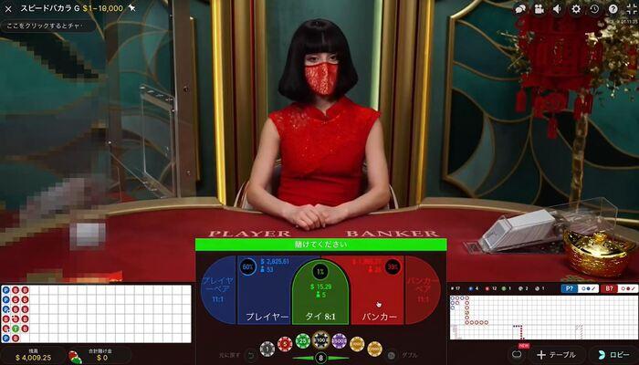ユースカジノ スピードバカラプレイ画面