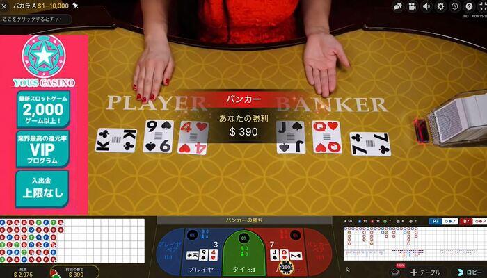 ユースカジノ バカラAプレイ画面
