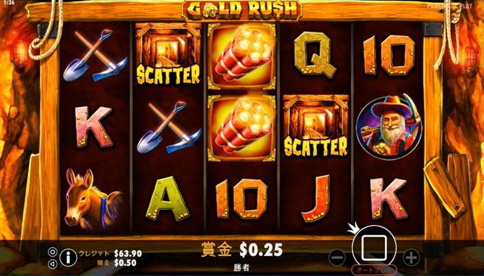 Gold Rush プレイ画面